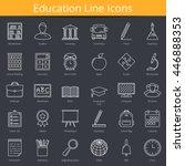 30 education line icons  vector ... | Shutterstock .eps vector #446888353