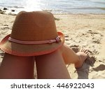 sand hat with a pink tape on... | Shutterstock . vector #446922043