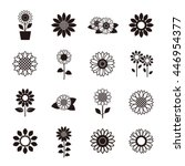 sunflower icon set | Shutterstock .eps vector #446954377