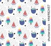 seamless summer pattern. vector ... | Shutterstock .eps vector #446982457
