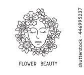 flower beauty girl. woman with... | Shutterstock .eps vector #446995237