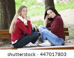 two beautiful young students... | Shutterstock . vector #447017803