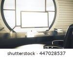 office desktop with blank white ... | Shutterstock . vector #447028537