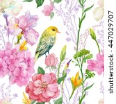 Stock photo seamless pattern illustration in watercolor branches flowers iris cherry and bird oriole 447029707