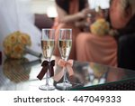 empty glasses in restaurant | Shutterstock . vector #447049333