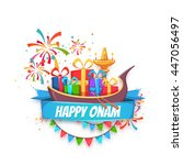onam sale banner with ribbon.... | Shutterstock .eps vector #447056497