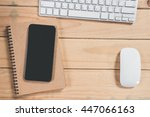 office workspace keyboard ...   Shutterstock . vector #447066163