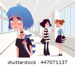 sad lonely girl looking at two... | Shutterstock .eps vector #447071137