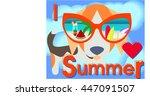 card. i love summer. beagle in... | Shutterstock .eps vector #447091507
