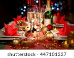 christmas eve party table with...   Shutterstock . vector #447101227