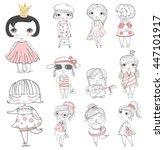 cute stylish fashion girls    Shutterstock .eps vector #447101917