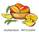 mango on the plate. vector | Shutterstock .eps vector #447111643