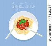 spaghetti tomato  italian pasta ... | Shutterstock .eps vector #447116197