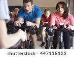 spinning class on exercise... | Shutterstock . vector #447118123