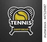 tennis sports logo  label ... | Shutterstock . vector #447124087