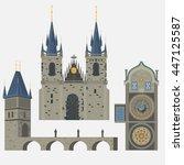 prague town  czech republic.... | Shutterstock .eps vector #447125587