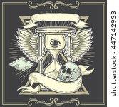tattoo art design.wings... | Shutterstock .eps vector #447142933