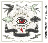 set of vector tattoo art design ... | Shutterstock .eps vector #447163387