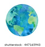 hand painted earth globe.... | Shutterstock . vector #447165943