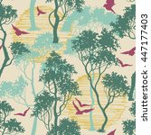 forest birds seamless pattern | Shutterstock .eps vector #447177403