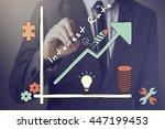 businessman drawing increasing...   Shutterstock . vector #447199453