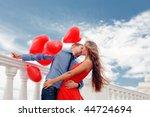 teenage couple embracing over... | Shutterstock . vector #44724694