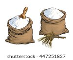 wholemeal bread flour bags with ... | Shutterstock .eps vector #447251827