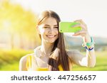 happy beautiful young woman... | Shutterstock . vector #447256657