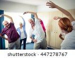 group of seniors doing... | Shutterstock . vector #447278767