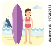 young surfer girl pose next to... | Shutterstock .eps vector #447280993