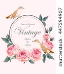 vintage card with nightingale | Shutterstock .eps vector #447294907