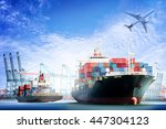 container cargo ship and cargo... | Shutterstock . vector #447304123