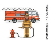 firefighter officer in personal ... | Shutterstock .eps vector #447305053