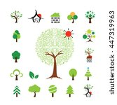 vector house and tree symbol... | Shutterstock .eps vector #447319963