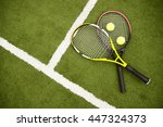 equipment for playing tennis on ... | Shutterstock . vector #447324373