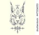 lynx. ethnic american indian... | Shutterstock .eps vector #447326053
