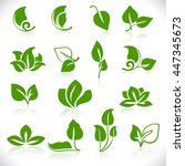 simple green leaves shapes... | Shutterstock .eps vector #447345673