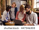 team of hipsters working in the ... | Shutterstock . vector #447346303