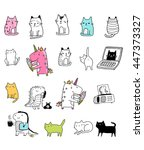 funny stickers with unicorn...   Shutterstock .eps vector #447373327