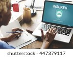 insured claims emergency... | Shutterstock . vector #447379117
