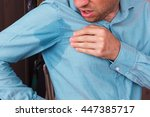 young man in horror looking at... | Shutterstock . vector #447385717