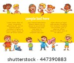 Happy children holding blank poster. Template for advertising brochure. Ready for your message. Children look up with interest. Kid pointing at a blank template. Funny cartoon character. Lorem ipsum | Shutterstock vector #447390883