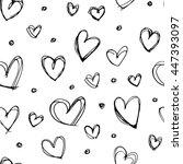 seamless hand drawn heart...   Shutterstock . vector #447393097