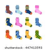 flat design colorful socks set... | Shutterstock .eps vector #447413593