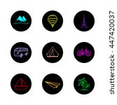 travel icons round hand painted ... | Shutterstock .eps vector #447420037