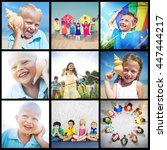 child friend young adult kids... | Shutterstock . vector #447444217