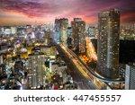 dense buildings in minato ku ... | Shutterstock . vector #447455557