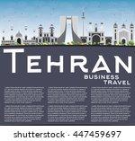 tehran skyline with gray... | Shutterstock . vector #447459697
