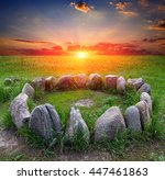 Stone Circle On Green Meadow...
