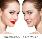 portrait of woman with and... | Shutterstock . vector #447479857
